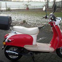 Nova Motors Mofaroller inkl. Topcase, 49 ccm, 25 km/h, rot weiß, »Venezia
